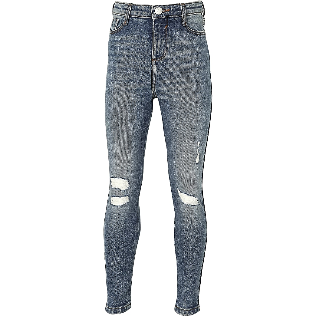 Girls blue mid wash ripped high rise jeans