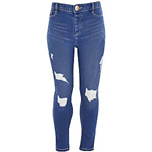 Blaue Molly-Jeans im Used-Look für Mädchen