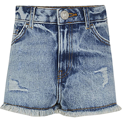 Girls blue mom denim shorts