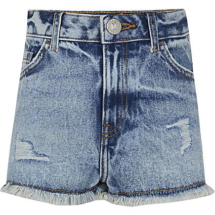 Girls blue mom denim shorts