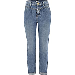 Girls blue Mom mid rise jeans