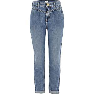 Mittelhohe Mom-Jeans in Blau