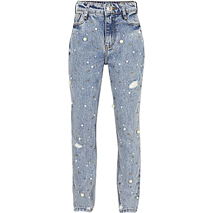 Girls blue Mom pearl embellished jeans
