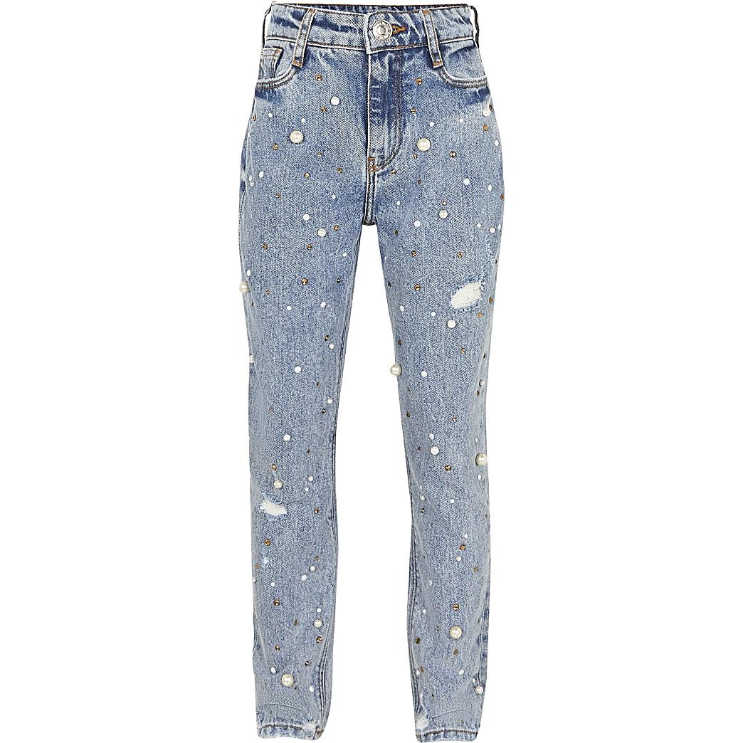 Girls blue Mom pearl embellished jeans