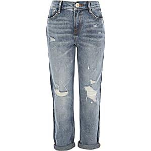 Blaue Mom-Jeans im Used-Look mit halbhohem Bund für Mädchen