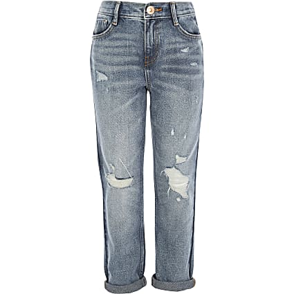Girls blue Mom ripped mid rise jeans