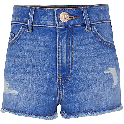 Girls blue Mom ripped shorts