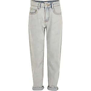 Amelie – Blaue Mom-Jeans mit Strass