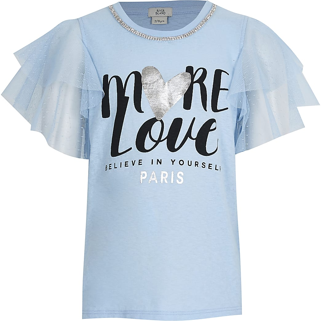 Girls blue necklace mesh t-shirt