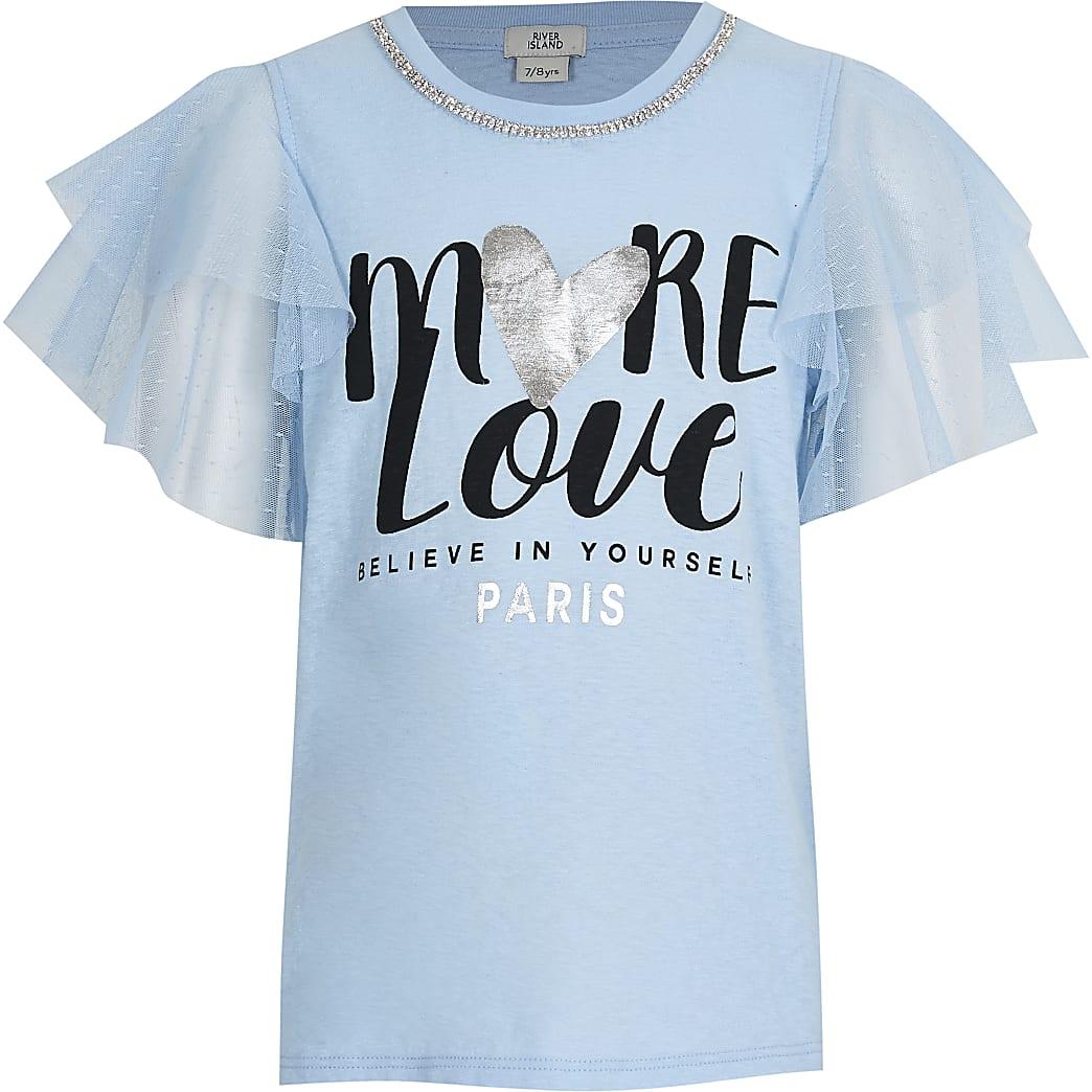 Girls blue necklace mesh t-shirt