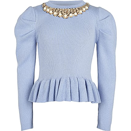 Girls blue necklace peplum Jumper
