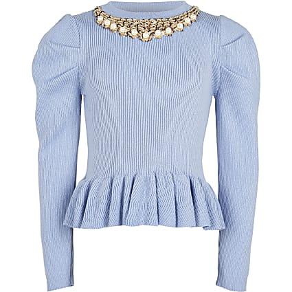 Girls blue necklace peplum Jumper