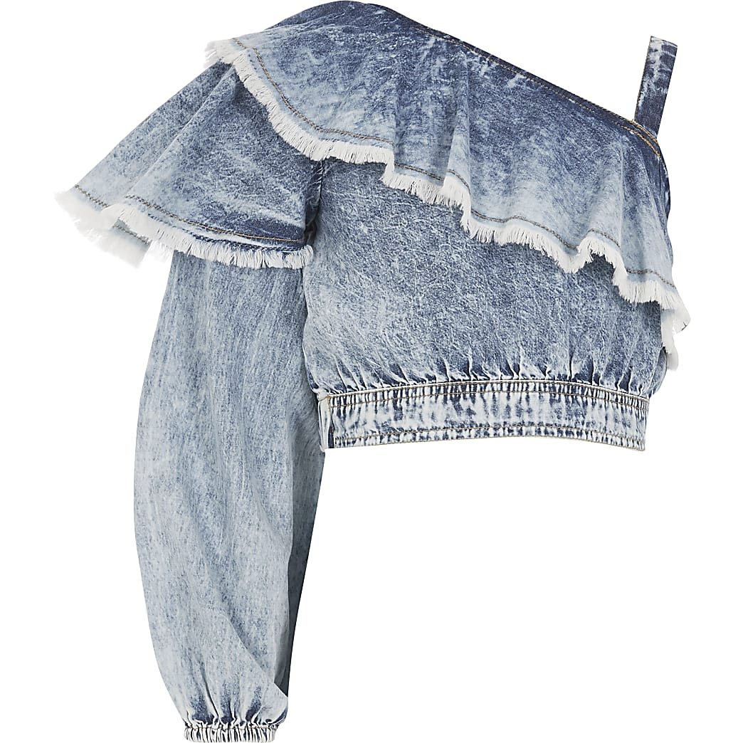 Girls blue one shoulder denim crop top