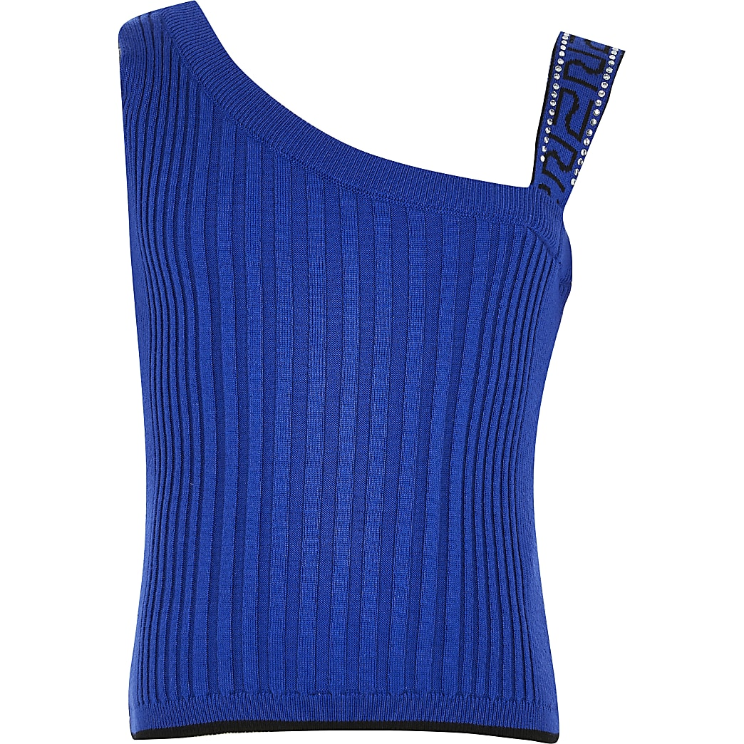 Girls blue one shoulder fitted top