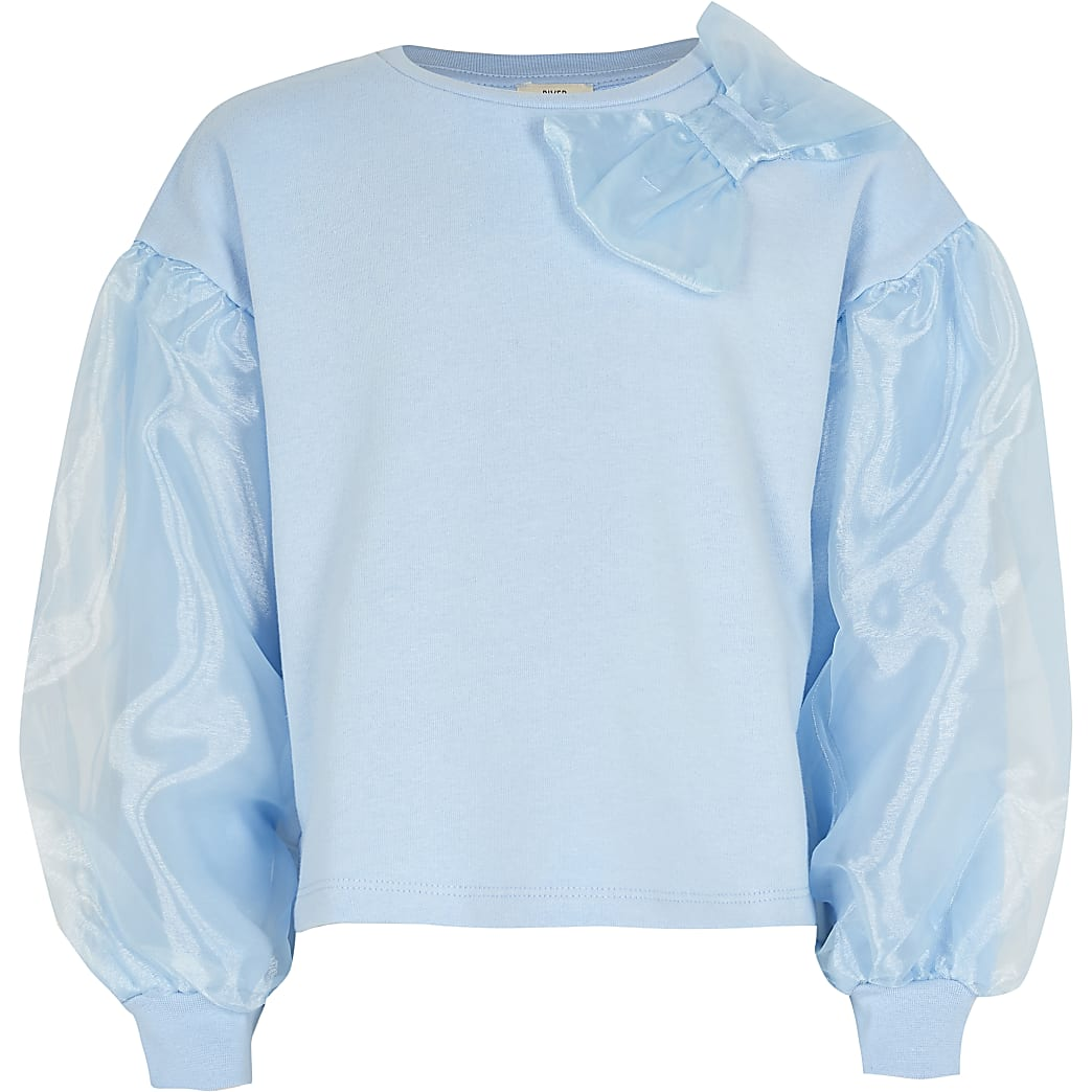 Girls blue organza bow sweatshirt