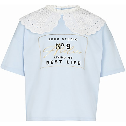 Girls blue oversized collar t-shirt