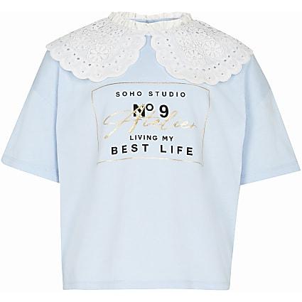 Girls blue oversized collar t-shirt