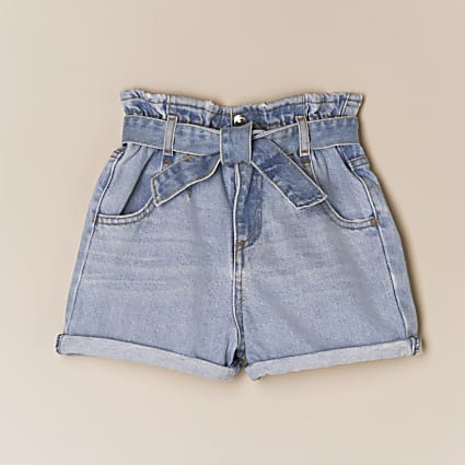 Girls blue paperbag belted denim shorts