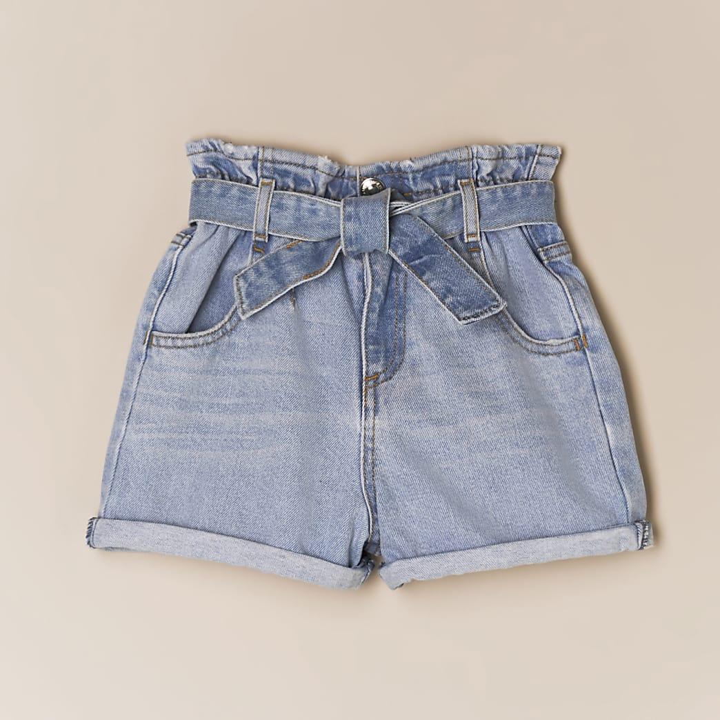 Girls blue paperbag belted denim shorts