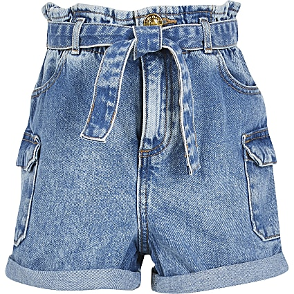 Girls blue paperbag denim utility short