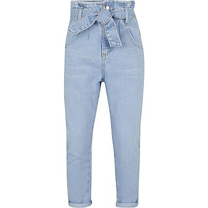 Girls blue paperbag jeans