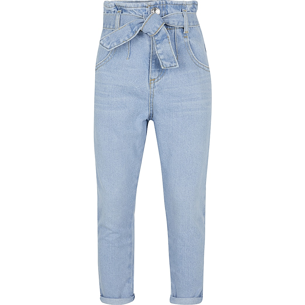 Girls blue paperbag jeans