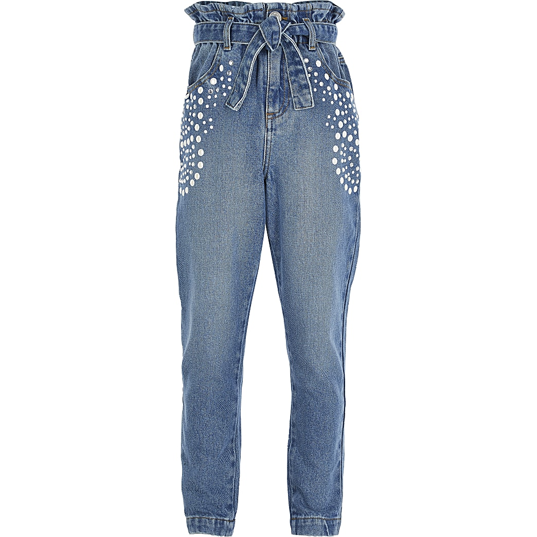Girls blue paperbag pearl embellished jeans
