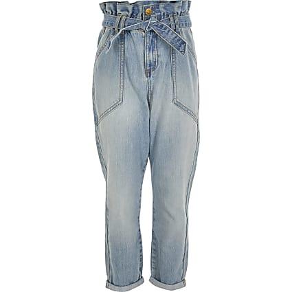 Girls blue paperbag tie belted jean