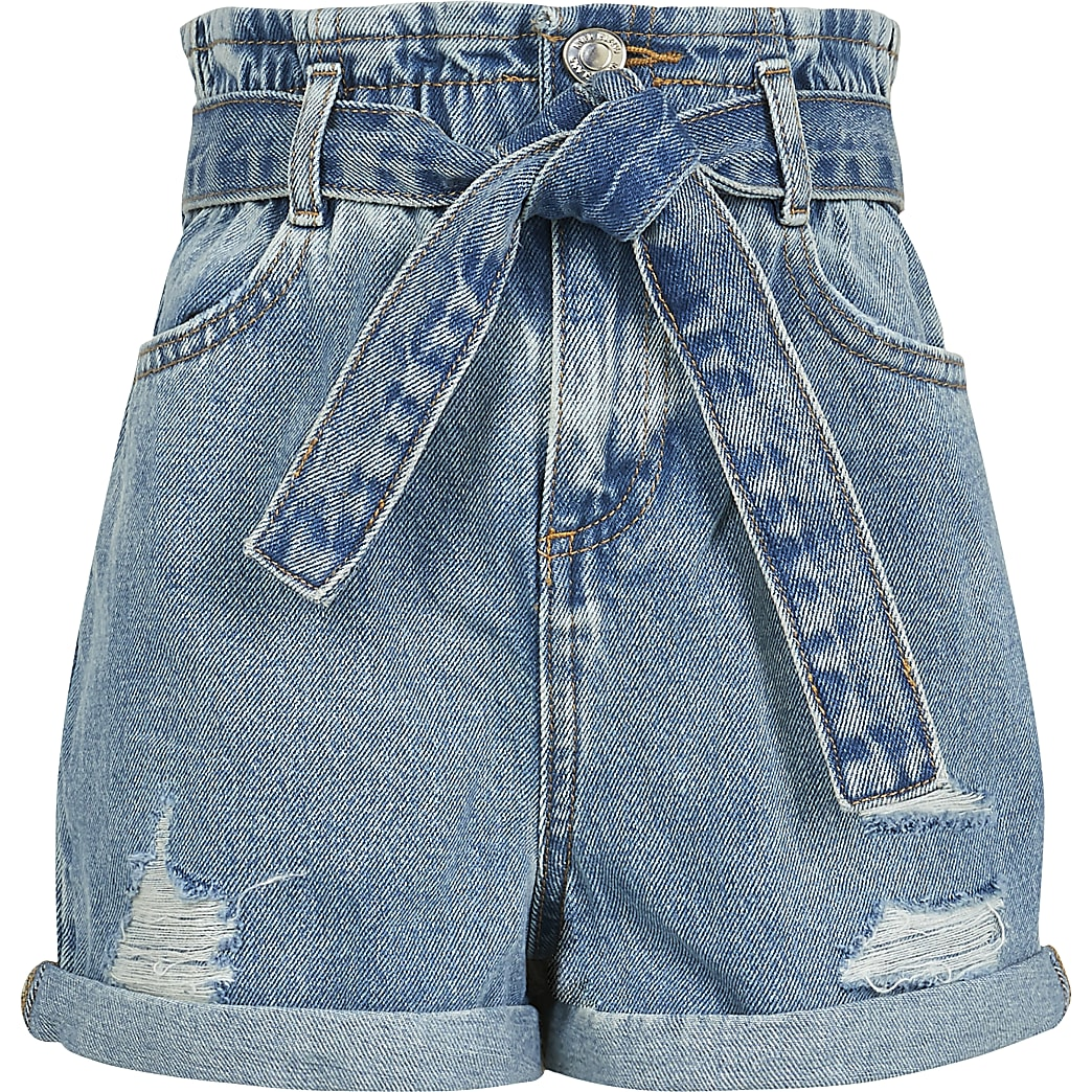 Girls blue paperbag waist denim shorts