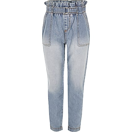 Girls blue paperbag waist jeans