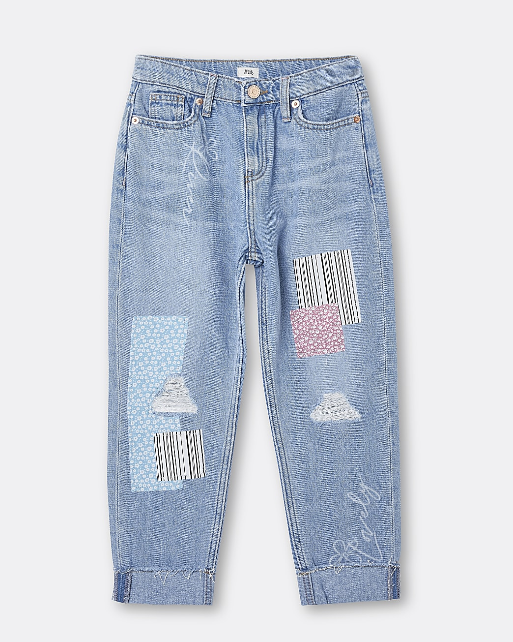Girls blue patchwork mom jeans