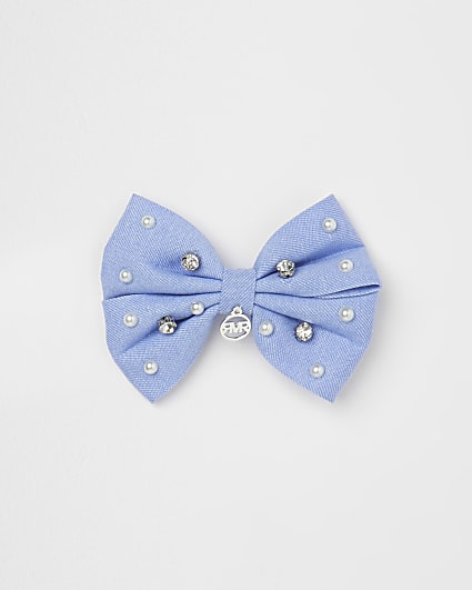 Girls blue pearl bow hair clip