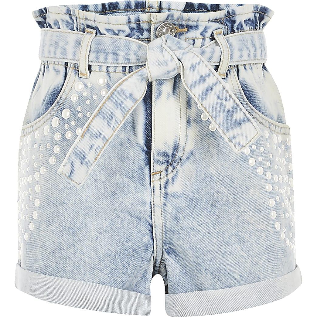 Girls blue pearl embellished denim shorts