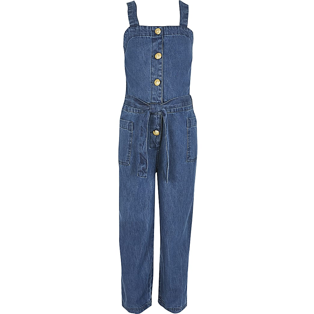 Girls blue pinafore denim jumpsuit