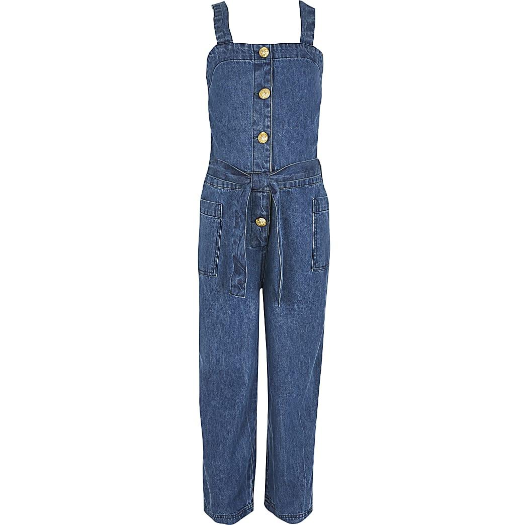 Blauwe overgooier denim jumpsuit voor meisjes