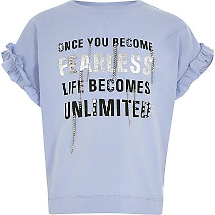 Girls blue printed diamante frill T-shirt