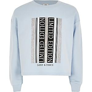 Blauwe verfraaide sweater met print voor jongens