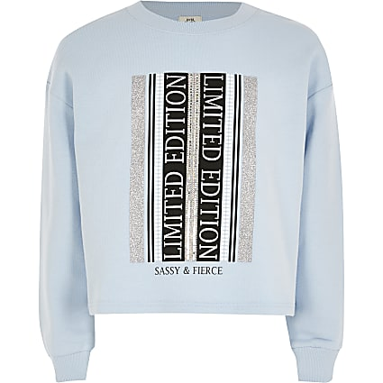 Girls blue printed embellished sweatshirt