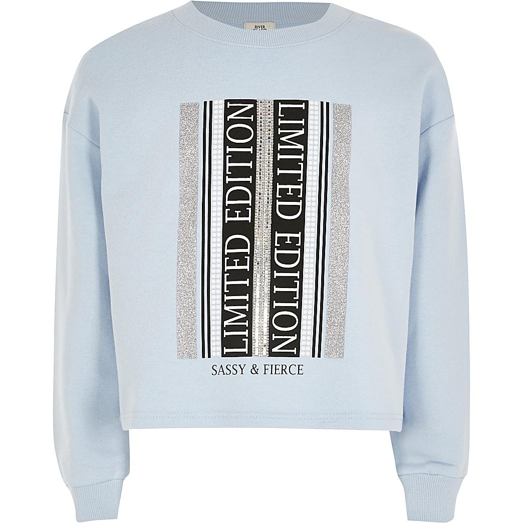 Girls blue printed embellished sweatshirt