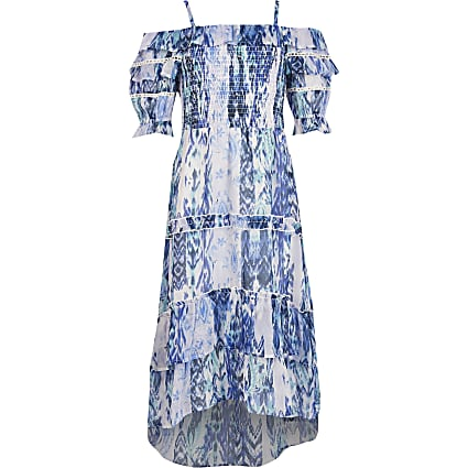Girls blue printed frill bardot maxi dress