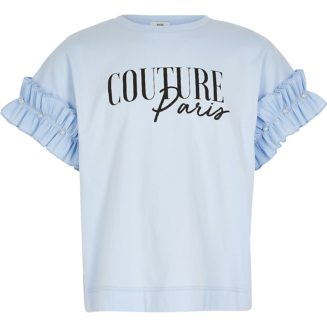Girls blue printed ruffle sleeve T-shirt