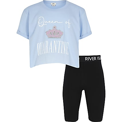 Girls blue printed t-shirt cycling short set