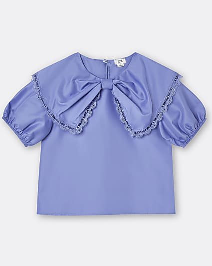 Girls blue puff sleeve bow blouse top
