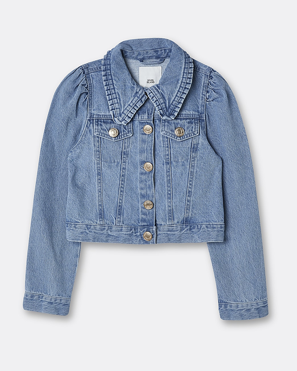 Girls blue puff sleeve denim jacket
