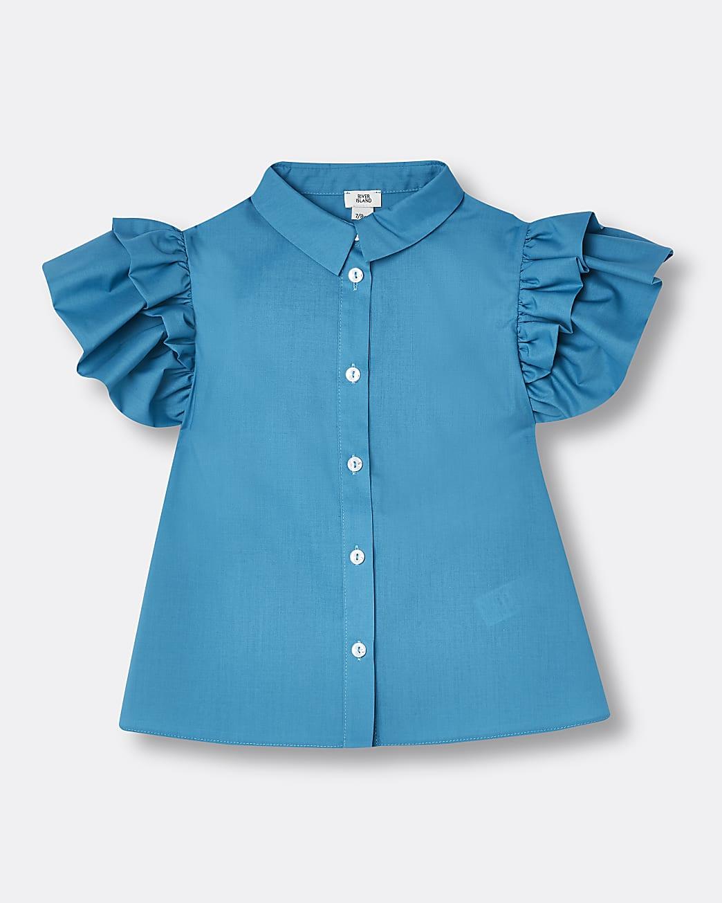 Girls blue puff sleeve shirt
