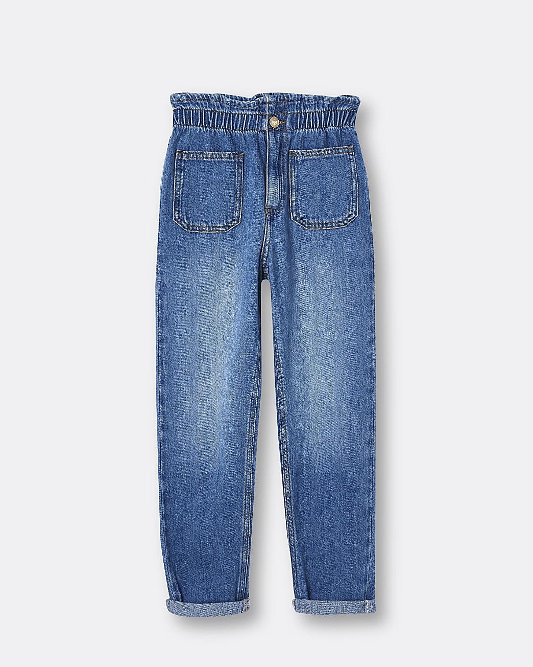Girls blue pull on paper bag jeans