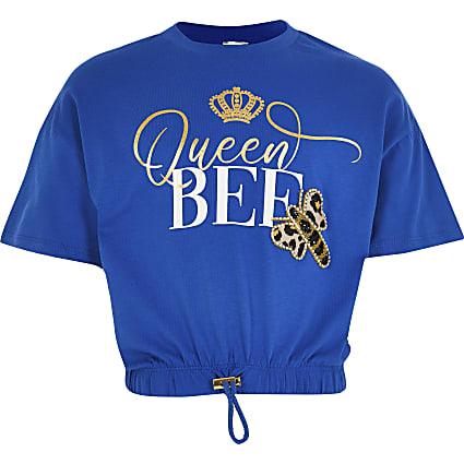 Girls blue 'Queen bee' cinched hem t-shirt