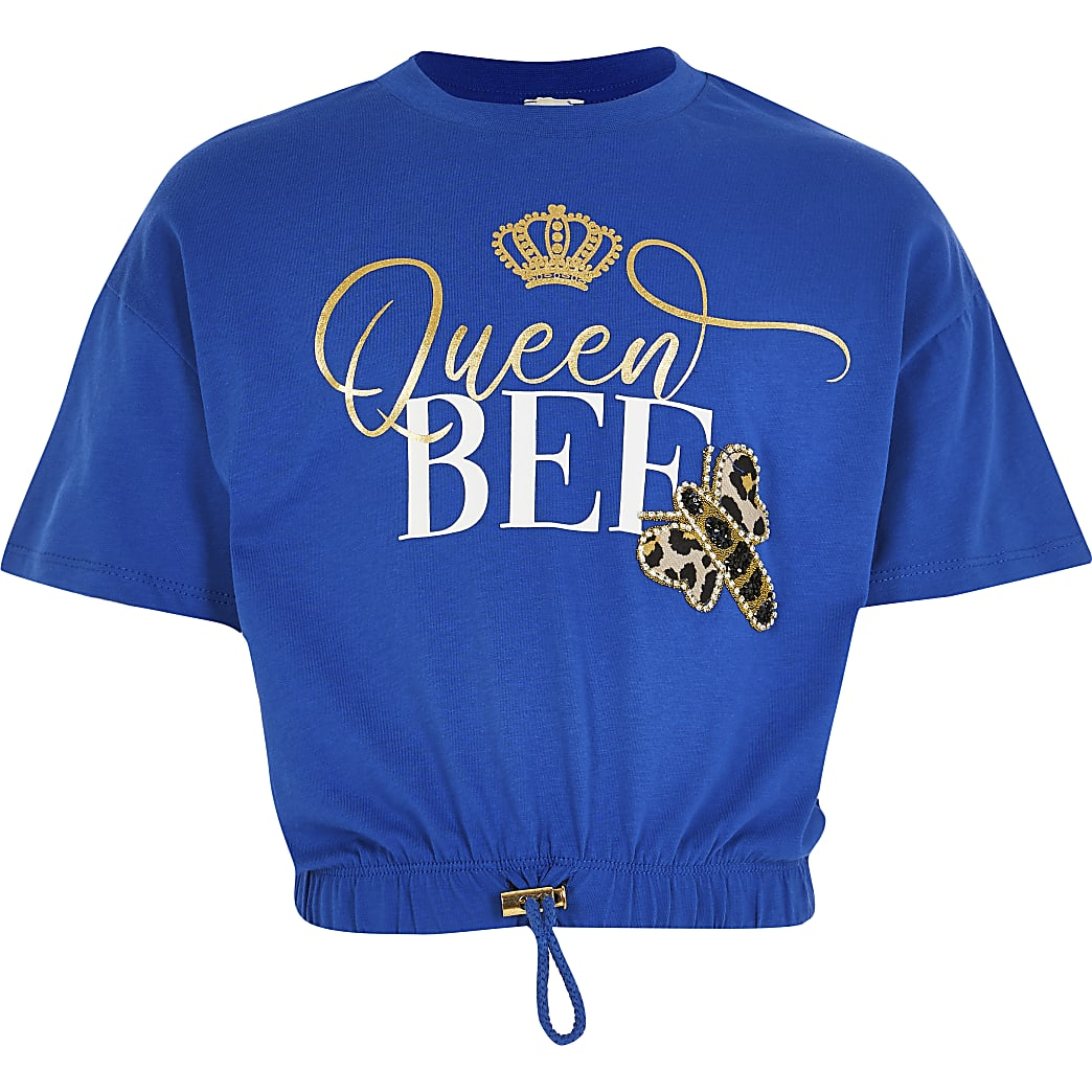 Girls blue 'Queen bee' cinched hem t-shirt