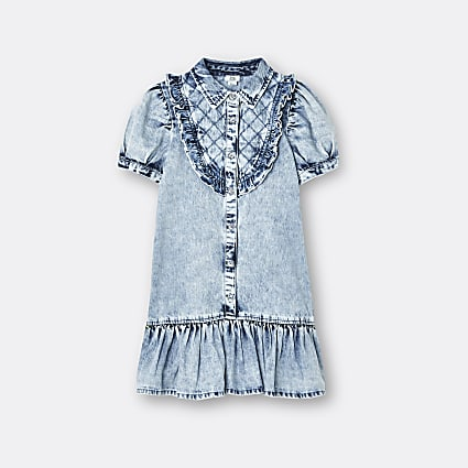 Girls blue quilted collared denim shirt dress