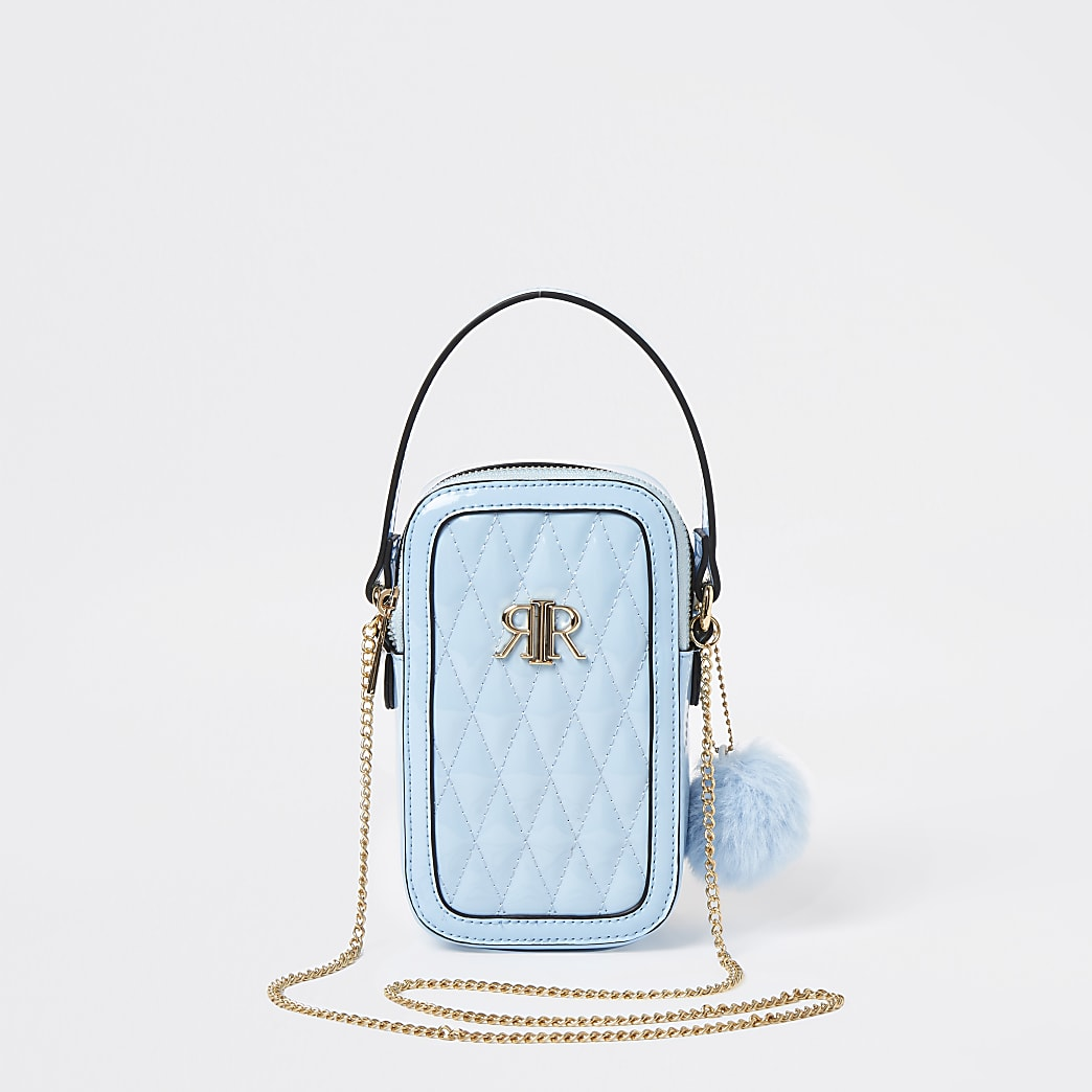 Girls blue quilted cross bag